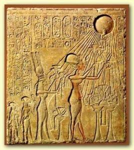 Akhenaten and Nefertiti Worshipping Their One god