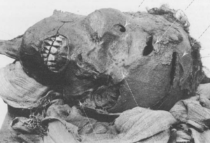 Mummy of Pharaoh Seqenenre Tao II with battle wounds to the head