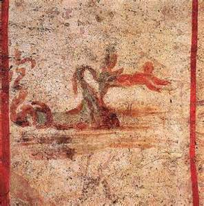 Prophet Jonah coming out of the big fish/dragon, Catacombs, Rome, 2nd century