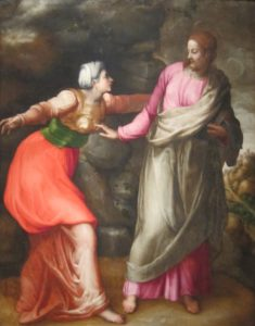 Noli Me Tangere – Battista (16th century). Jesus touching Mary the Magdalene. Metaphor or history?